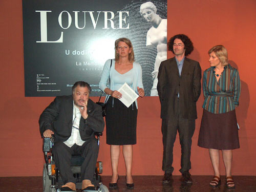 Photo taken during the opening ceremony showing Roberto Farroni of the Museo Omero, Cyrille Gouyette of the Louvre and Laura Lada of the Archaeological Museum of Split