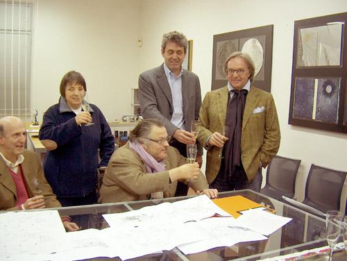 Immagine del brindisi con Aldo Grassini e Daniela Bottegoni, fondatori del Museo Omero, Roberto Farroni, Presidente del Museo Omero, Fabio Sturani, Sindaco di Ancona, Diego della Valle.