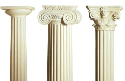 plaster casts of columns from the original orders