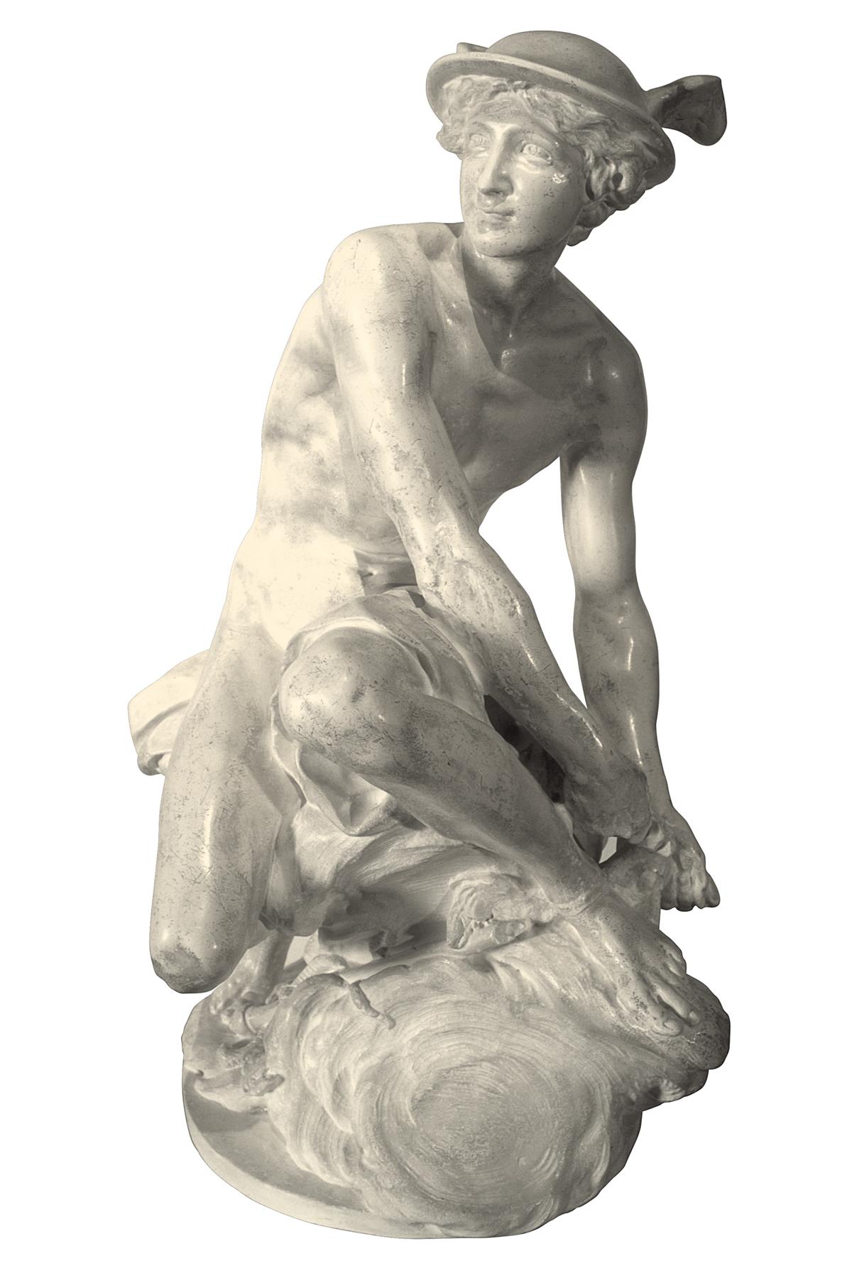 Mercurio che allaccia i sandali (scultura in gesso)