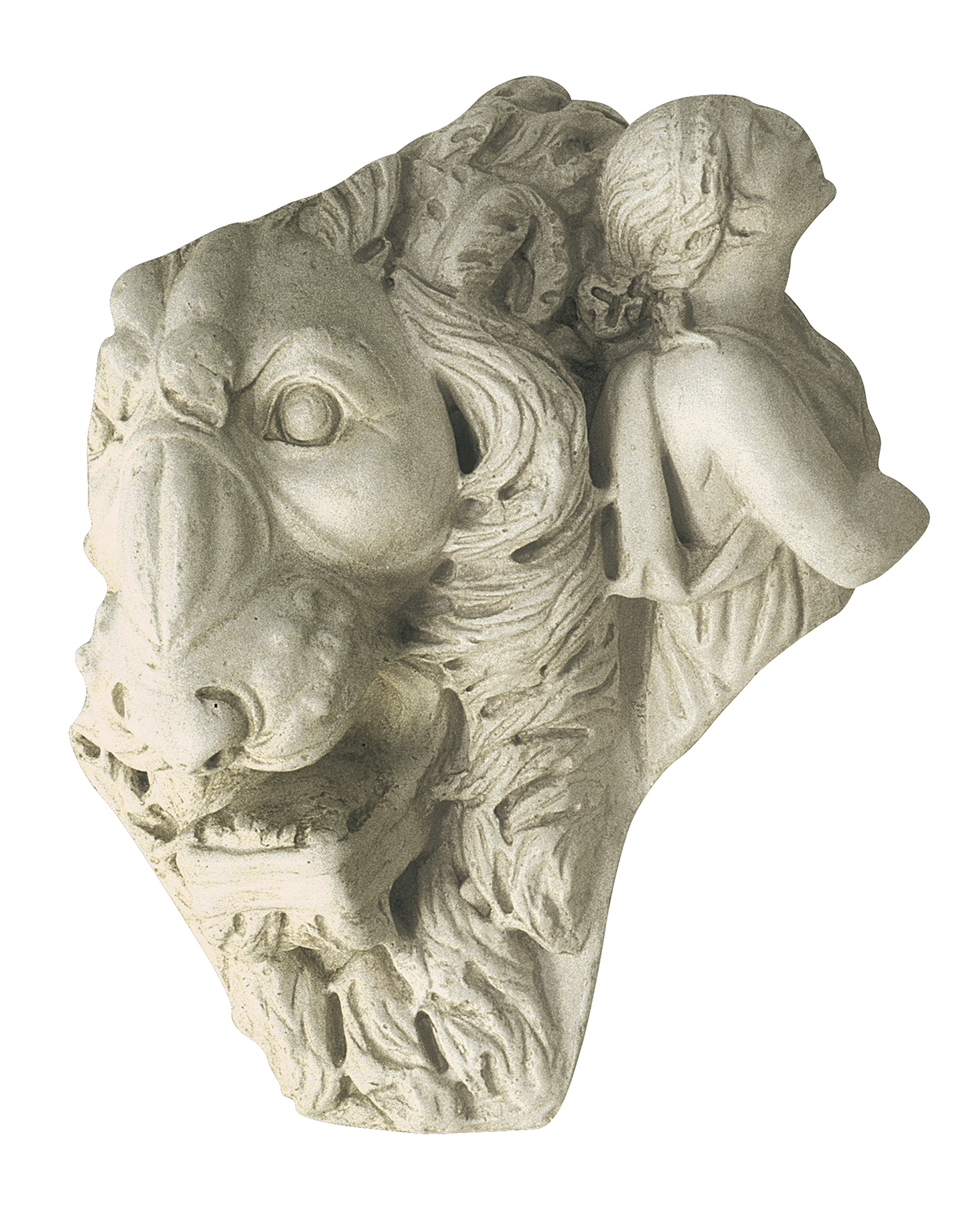 Decorative cornerpiece from a sarcophagus (cast in plaster)