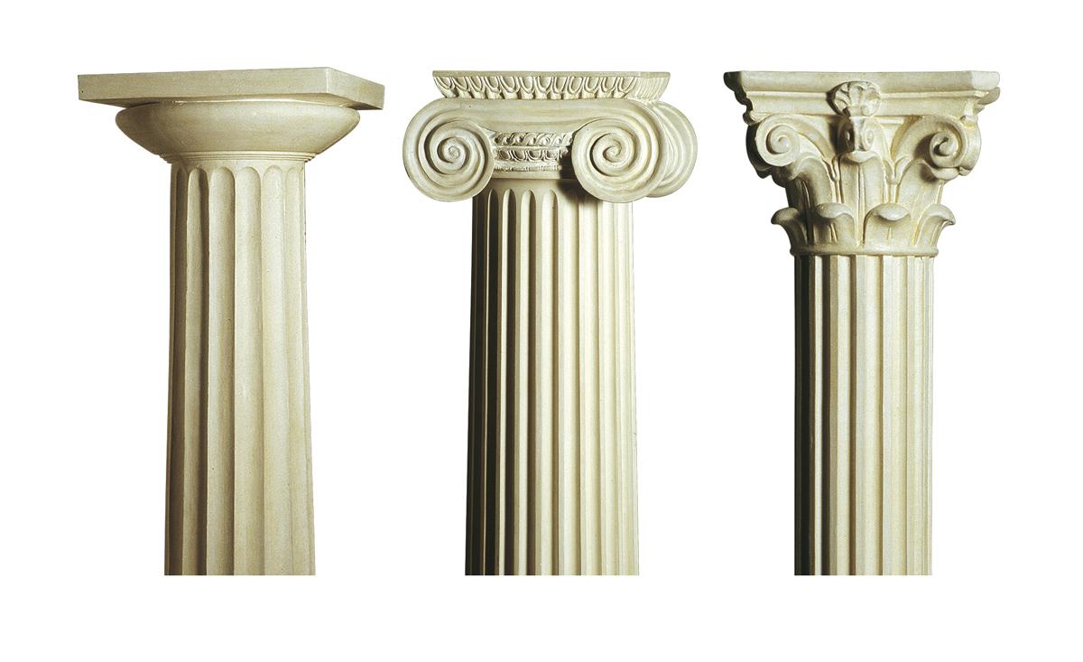 Architectural orders: Greek Doric, shortened Ionic, Gothic Corinthian
