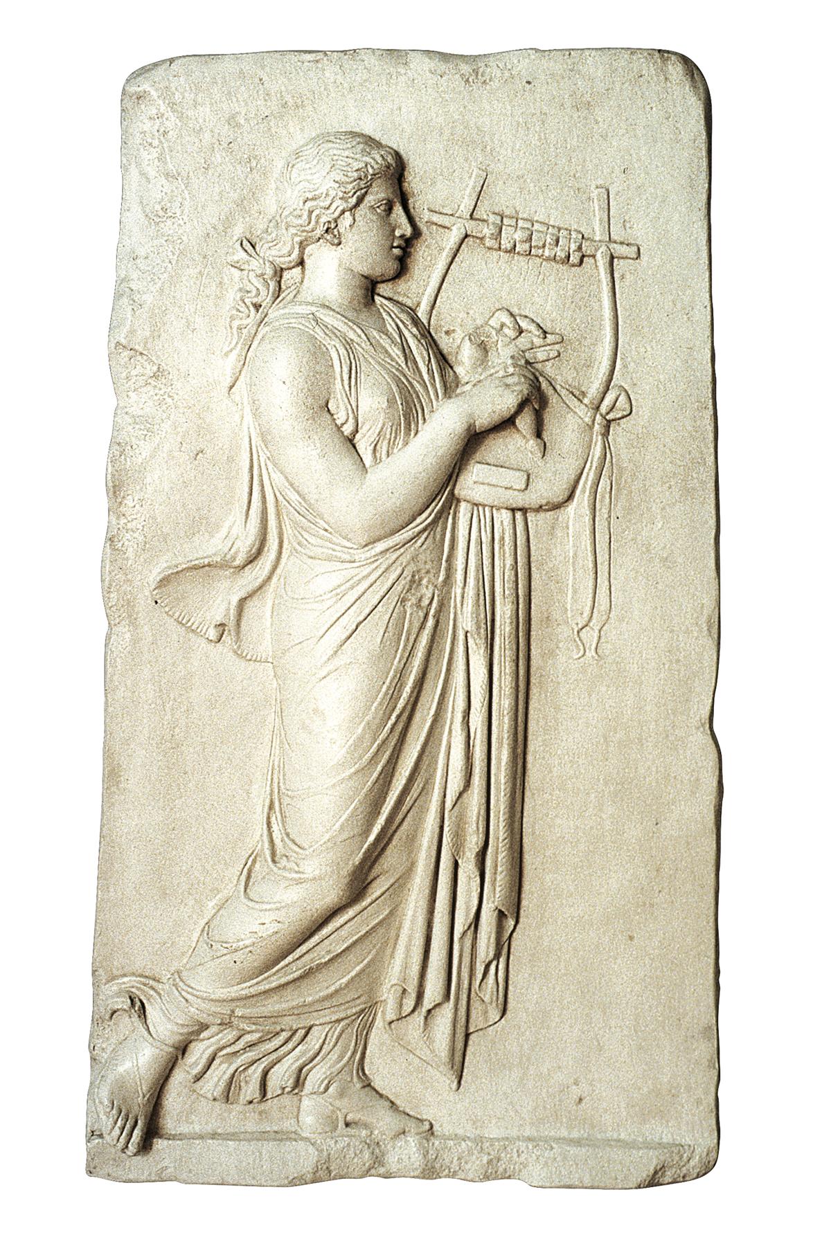 Suonatrice di Lyra (scultura in gesso)