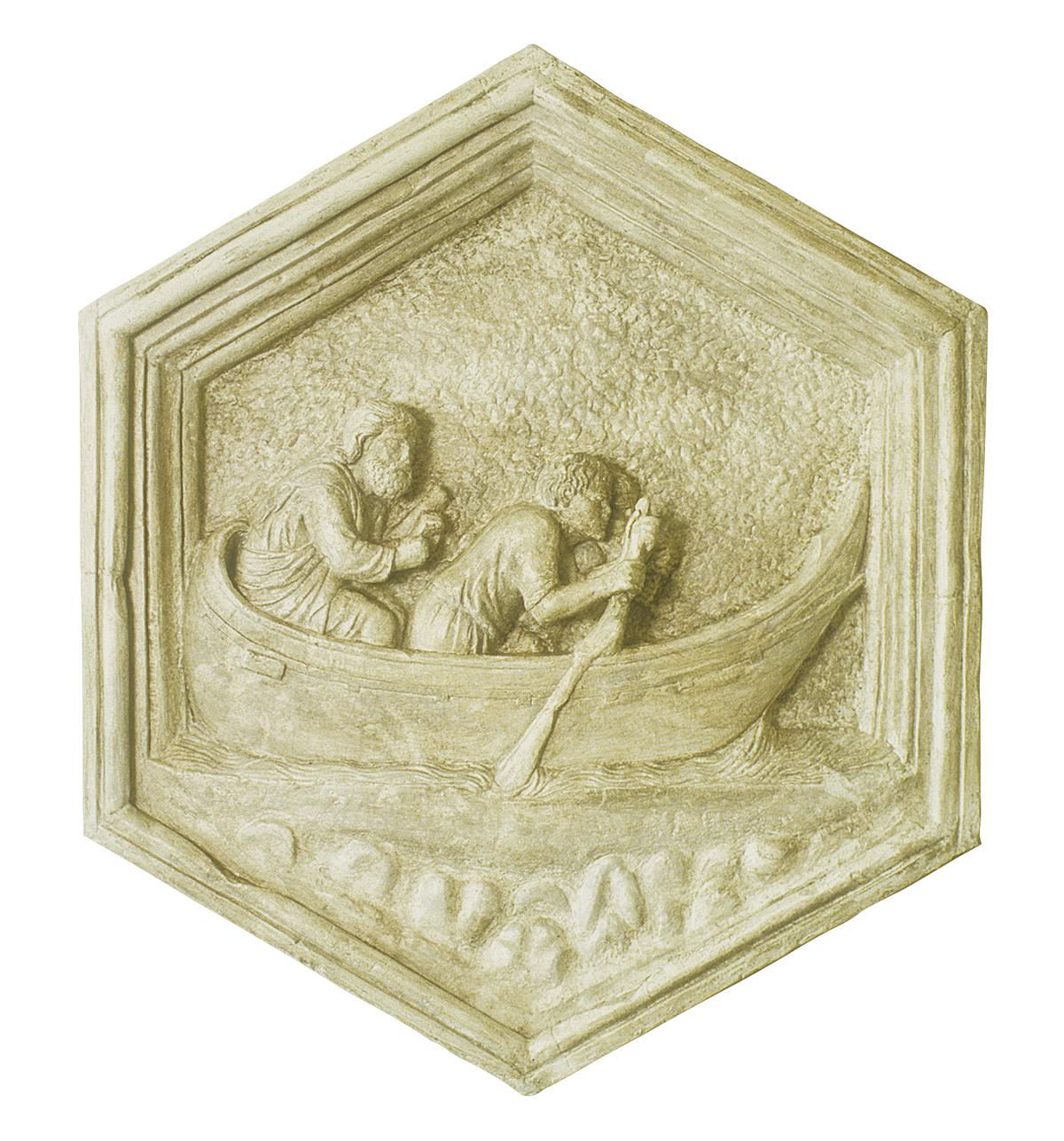 L'arte della navigazione a remi, formella del campanile di Giotto (copia in gesso)