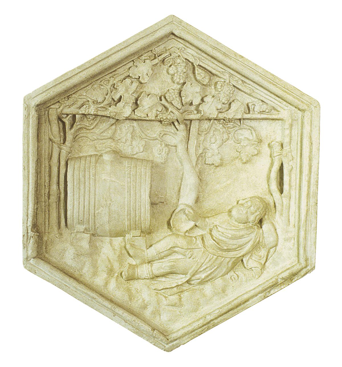 Noè o l'invenzione del vino, formella del campanile di Giotto (copia in gesso)