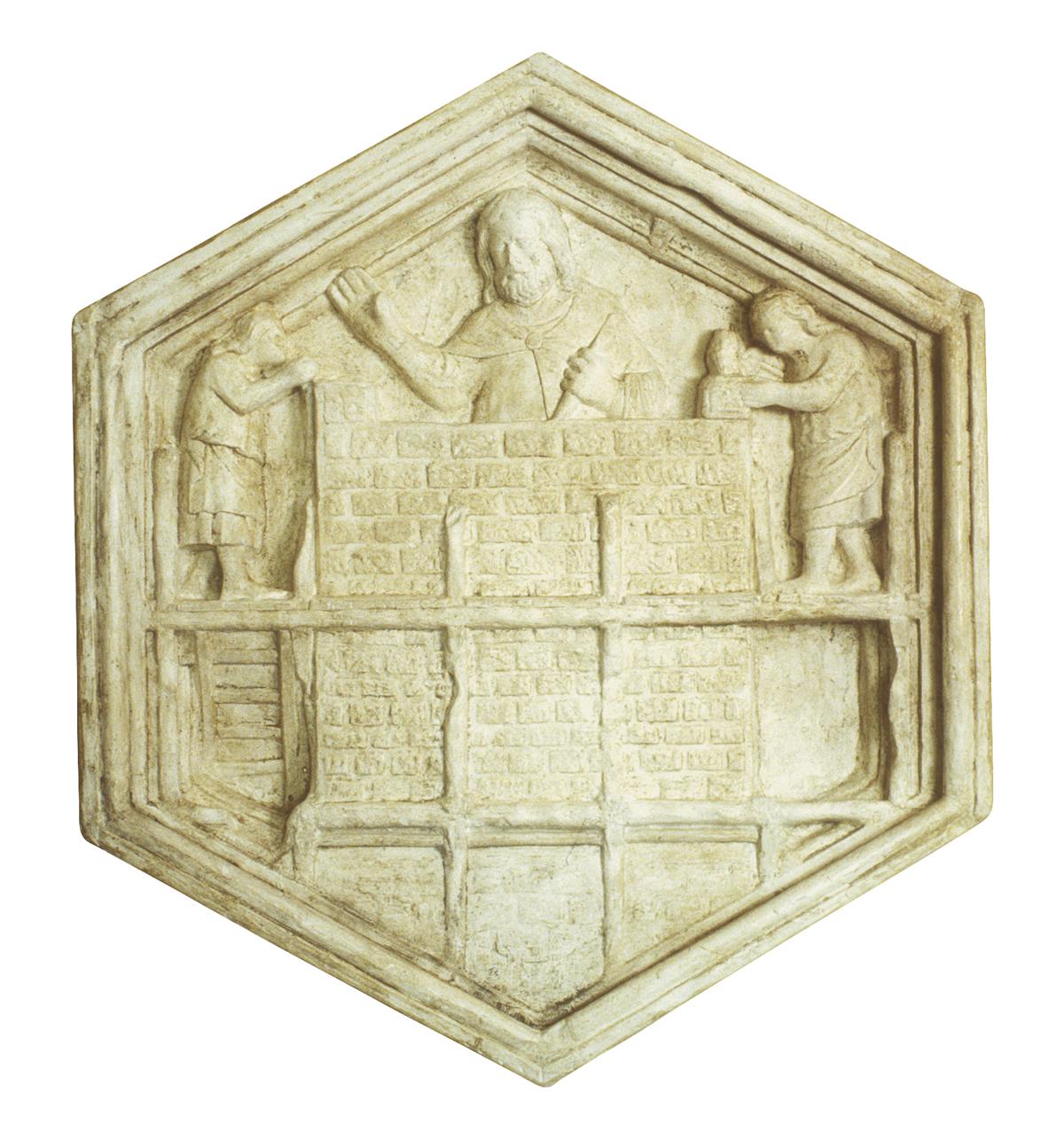 L'arte del costruire formella del campanile di Giotto (copia in gesso)