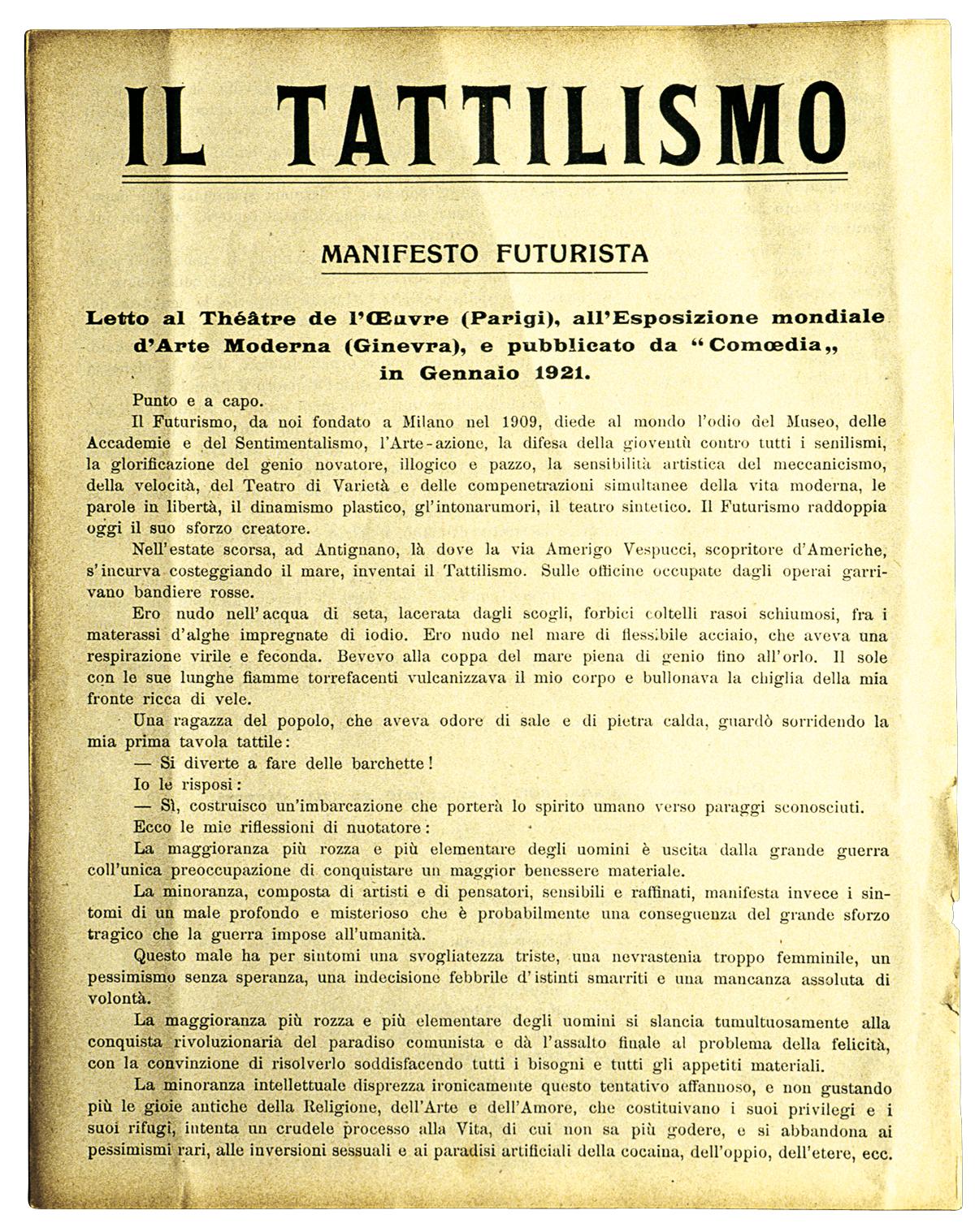 Manifesto futurista sul tattilismo