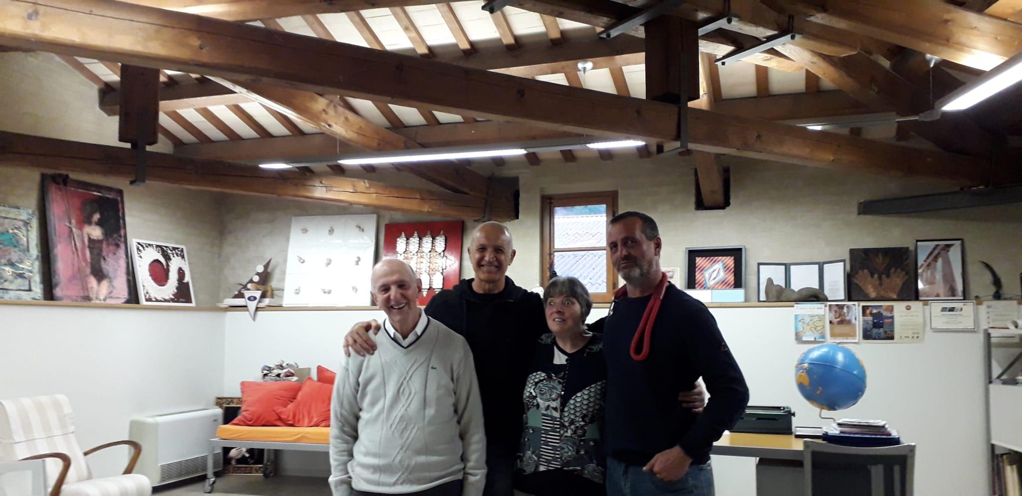I fondatori del Museo Omero con Iannacone e Tagliaferri nell'ufficio presidenza il giorno delle riprese