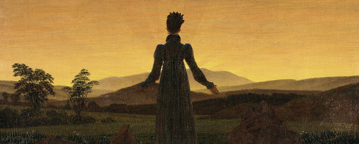 Dipinto: figura femminile che guarda l'orizzonte