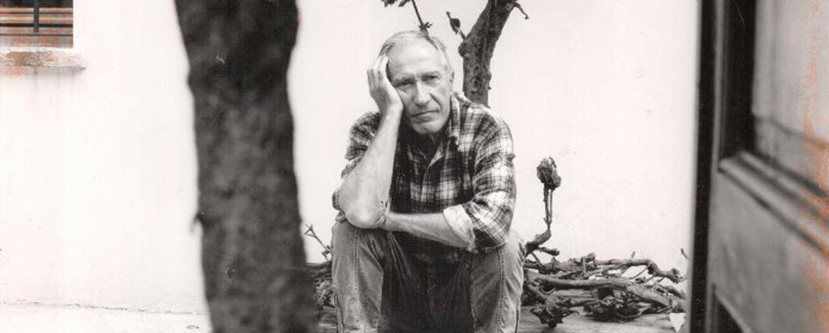 Alik Cavaliere seduto nel suo giardino davanti ad una scultura a forma di albero