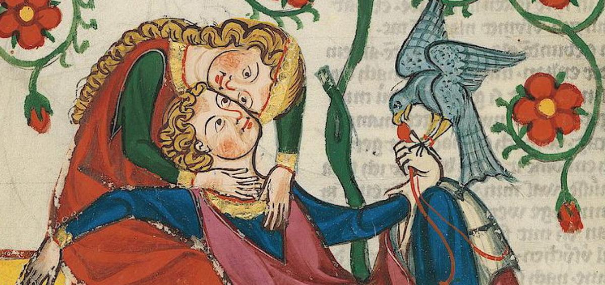 miniatura medievale che ritrae una giovane china su un ragazzo appoggiato al suo grembo